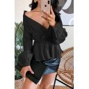 Fancy Ladies Plain Long Sleeve Surplice Neck Ruffled Pleated Fitted Shirt for Club