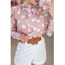 Formal Lovely Ladies' Long Sleeve Bow Tie Neck All Over Polka Dot Floral Semi Sheer Mesh Relaxed Shirt in Pink