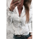 White Chic Long Sleeve Stand Collar Button Front All Over Letter Printed Relaxed Fit Shirt for Ladies