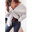 Stylish Women's Long Sleeve V-Neck Button Down Striped Relaxed Fit Shirt in White