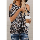 Trendy Women's Short Sleeve Cold Shoulder Leopard Printed Twist Hem Loose Fit T-Shirt