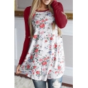 Casual Women's Long Sleeve Round Neck Floral Printed Contrasted Relaxed Fit T Shirt