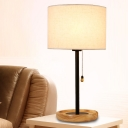 Modernist Cylinder Desk Light Fabric 1 Bulb Night Table Lamp in Flaxen/Black with Pull Chain