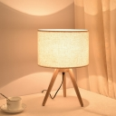 Fabric Shaded Nightstand Lamp Contemporary 1 Head Task Lighting in Wood for Bedside