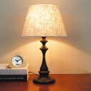 White Flared Table Light Modernist 1 Head Fabric Nightstand Lamp with Metal Base