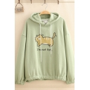 Cute Girls' Long Sleeve Drawstring Letter I'M NOT FAT Cat Graphic Relaxed Fit Hoodie
