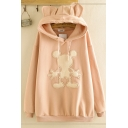 Casual Women's Long Sleeve Drawstring Mickey Embroidered Oversize Long Ears Hoodie