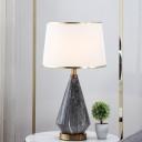 Head Living Room Desk Lamp Modernism Black Task Lighting with Drum Fabric Shade