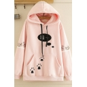 Casual Women's Long Sleeve Drawstring Chinese Letter Footprint Pattern Pouch Pocket Relaxed Fit Hoodie
