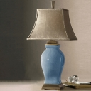 Flared Fabric Desk Light Modernism 1 Head Blue Night Table Lamp with Jar Ceramic Base