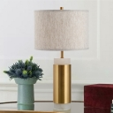 Straight Sided Shade Desk Light Modernist Fabric 1 Bulb Night Table Lamp in Flaxen