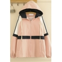 Popular Ladies' Long Sleeve Drawstring Zipper Front Contrasted Striped Loose Fit Hooded Jacket