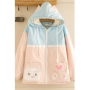 Kpop Girls' Long Sleeve Cat Ears Hooded Zipper Front Cat Heart Patterned Colorblocked Sherpa Liner Loose Jacket