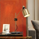 1 Head Bedside Table Light Modern Gold Small Desk Lamp with Cylindrical Metal Shade