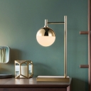 Brass Globe Desk Light Modernism 1 Bulb Opal Glass Night Table Lamp with Metal Base