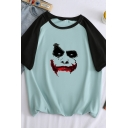 Preppy Girls Short Sleeve Round Neck Crown Pattern Color Block Relaxed Fit T Shirt