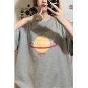 Cool Fashion Women's Short Sleeve Crew Neck Planet Graphic Oversize T Shirt