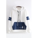 Chic Preppy Looks Long Sleeve Drawstring Funny Cat Graphic Color Block Pouch Pocket Relaxed Fit Hoodie