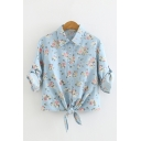 Amazing Light Blue Roll-Up Sleeves Lapel Neck Button Front All Over Floral Printed Tied Hem Fitted Shirt