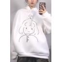 Trendy Popular Women's Long Sleeve Drawstring Cartoon Girl Dinosaur Print Oversize Hoodie