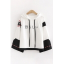 Cool Street Ladies Long Sleeve Drawstring Japanese Letter Striped Graphic Colorblocked Loose Fit Hoodie