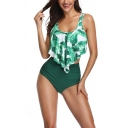 Pretty Ladies Sleeveless Leaf Patterned Asymmetric Ruffled Hem Tied Back Bikini Top