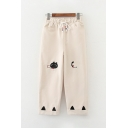 Cute Girls Drawstring Waist Cat Graphic Embroidery Cuffed Ankle Straight Pants