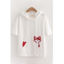 Simple Casual Short Sleeve Drawstring Fox Patterned Relaxed Fit Hoodie with Pocket