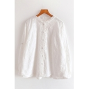 Lovely Girls White Long Sleeve Crew neck Button Down Lace Loose Shirt