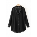 Cool Womens Black Long Sleeve Notched Collar Button Down Curved Hem Oversize Longline Shirt