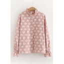 Lovely Girls Long Sleeve Stand Collar Button Down All-Over Bear Printed Ruffled Trim Relaxed Shirt