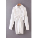 Chic Ladies White Long Sleeve Lapel Collar Button Down Asymmetric Long Relaxed Shirt Dress