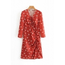 Glamorous Ladies Red Long Sleeve V-Neck All-Over Floral Printed Drawstring Asymmetric Long A-Line Dress