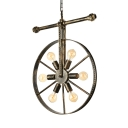 Wrought Iron Wheel Shaped Chandelier Nautical Industrial Style 5 Light Hanging Pendant for Restaurant
