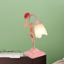 Metal Blue/Pink Night Table Lamp Floral 1 Bulb Countryside Nightstand Light for Study Room