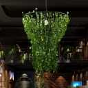 Metal Cage Hanging Ceiling Light Retro 1 Bulb Restaurant LED Suspension Lamp in Black with Plant