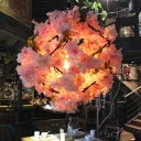 Industrial Cherry Blossom Hanging Pendant 1 Bulb Metal LED Suspension Light in Black, 19.5