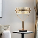Drum Table Light Minimalism Clear Crystal LED Gold Small Desk Lamp with Metal Base