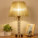 Contemporary Pumpkin Table Light Faceted Crystal 1 Head Small Desk Lamp in Beige