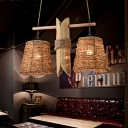 Industrial Barrel Pendant Chandelier 2 Bulbs Rope Hanging Ceiling Light in Beige with Hand Woven Design