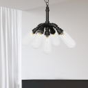 2/4/5 Heads Pendant Chandelier Antiqued Capsule Clear Glass Suspension Light in Black for Restaurant