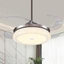 Acrylic Round Fan Light Modern LED Living Room 4 Clear Blades Semi Flush Mount Lighting in Silver, 36