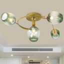 Gold Spiral Semi Flushmount Modernist 4-Bulb Metal Flush Ceiling Light with Bud Gradual Green Dimpled Glass Shade