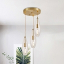Waterdrop Clear Glass Hanging Light Kit Simple 3-Head Brass Multi Light Pendant with Round Canopy
