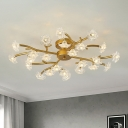 Modern Floral Flush Mount Light Metal 24 Heads Bedroom Semi Flush Lamp Fixture in Brass