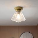 Diamond Flushmount Lighting Modernist Clear Prismatic Glass 1 Head Brass Flush Mount Lamp