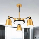 Barrel and Round Iron Pendant Lighting Modernism 3/5/6-Light Gold Hanging Ceiling Lamp with Acrylic Diffuser