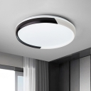 LED Bedroom Flush Mount Light Modern Black/Rose Gold Flushmount with Round Acrylic Shade