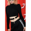 Hip Hop Girls Long Sleeve Mock Neck O-Ring Cut Out Fit Crop T Shirt in Black