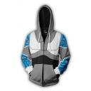 Cool Casual Long Sleeve Drawstring Zip Up Colorblocked 3D Anime Cosplay Pattern Relaxed Hoodie in Gray